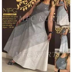 MFC Party Wear Fancy One Piece Ladies Designer Dress, Size: 38-44