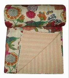 Beige Printed Kantha Bedspread