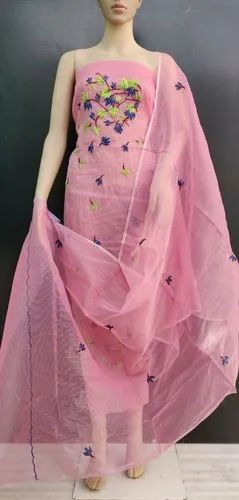Exclusive Pink Unstitched Kota Doria Embroidery Dress Material