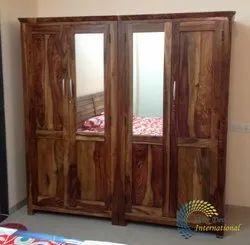 Honey Sheesham Wood Trendy Wooden Wardrobe With Mirror Door
