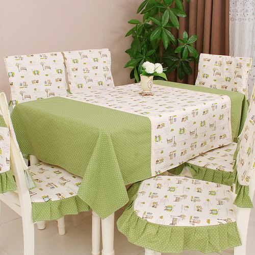 Green White Cotton Printed Dining