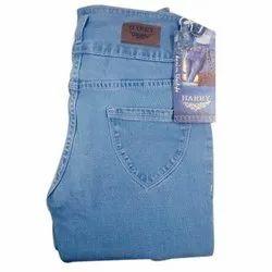 Plain Light Blue Lycra Jeans for Ladies