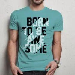 Half Sleeves Cotton Mens Printed Sky Blue T Shirt