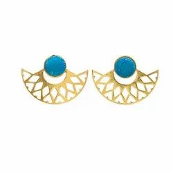 Gold Plated Druzy Earrings