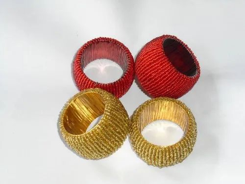 Gold And Red Beaded Napkin Ring