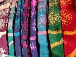 Cotton sarri Batik prints saari, 6.3 m (with blouse piece)