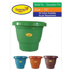 Round Decorative Plastic Flower Pot, Size: 12 Inch