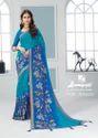 Georgette Sky Blue Classic Saree With Blouse Piece