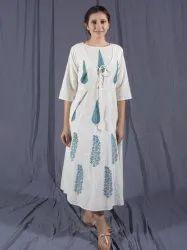 White Midi Dress, Block Printed Indian Summer Dress