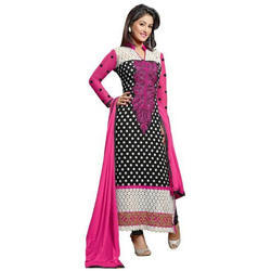 Georgette Semi-Stitched Embroidered Fancy Suit