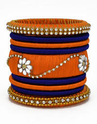 Orange and Blue Silk Thread Bangle