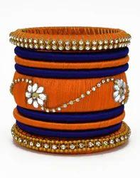 Orange and Blue Silk Thread Bangle