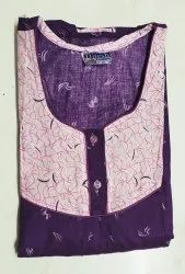 Full Length Cotton Night Gown, Size: Large