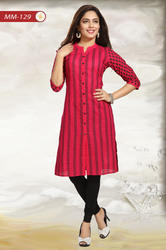 Casual Craze Magenta Cotton Printed Shirt Tunic Dress with Black Button