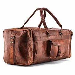 Handmade Leather Duffel Travel Gym Bag