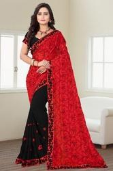 Georgette Embroidered Half And Half Patten Designer Saree