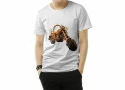 Male Cotton Printed T shirt, Size: Medium