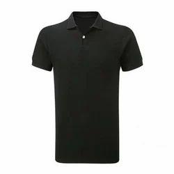 Black Casual Polo Neck Plain T Shirt, Size: Medium
