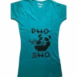 ChoiceIt Cotton Ladies Blue Printed T Shirt