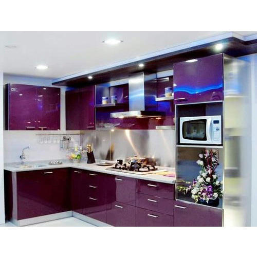 Aluminium Modular Kitchen At Rs 1100 Square Feet: Glass Top Modular Kitchen At Rs 2200 /square Feet