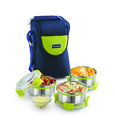 Blue Magnus Stainless Steel Lunch Box, For Office