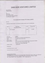 Order Copy of SAM Agri Ventures Ltd, Andharapradesh for SS commercial boiler