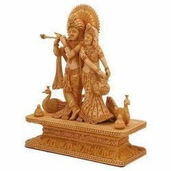 15 Inch Wooden Radha Krishan Statue