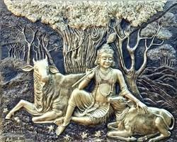 Krishna With Cow Fiber Wall Mural