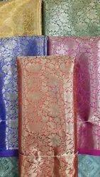 57-60 Printed Silk Satin Banarasi Fabric, 155 Approx