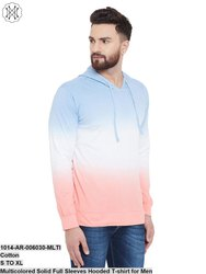Gritstone Multicolored Solid Full Sleeves Hooded T-Shirt for Men