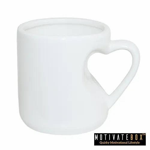 Ceramic Heart Shape White Sublimation Coffee Mug, Capacity: 330 mL