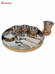 Copper / Stainless Steel Thali Set with Matka Glass (9 Pcs)
