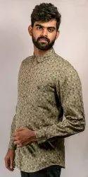 Indian Hemp Men Check Printed Casual Shirt