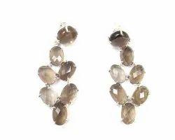 Smoky Quartz Gemstone Stud Earring Set