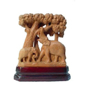 Wood Indian Elephants Statue For Interior Decor