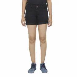 Ladies Denim Black Shorts