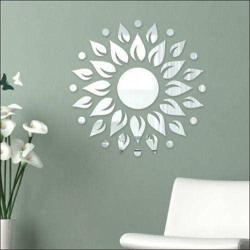 60x60 cm grey, white 3d acrylic wall sticker sunshine silver mirror