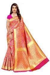 Festive Wear Banarasi Silk Saree,with Blouse Piece