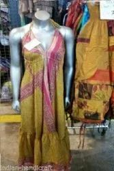 Vintage Recycle Sari Silk Spaghetti Beach Sundress Boho Gypsy DR572s