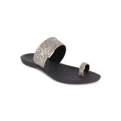 7b627cea1d6f9c Ustep Silver and Black Casual Toe Ring Strap Slippers
