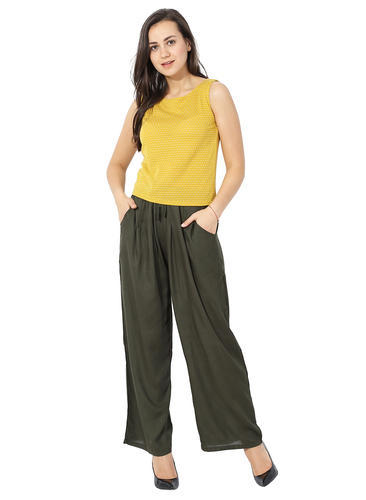 Olive Green Color Party Wear Women Palazzo Pant Id 19325798662
