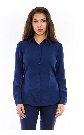 4ea4f6cd23622 Solid Femninora Womens Dark Blue Polyester Shirt