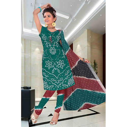 bcebc64dca Cotton Silk Green & Red Casual Bandhej Suit, Rs 1080 /piece   ID ...