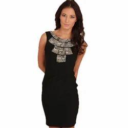 Black Organic Ladies Party Wear Dress