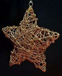 Metal Wire Golden Christmas Star Hanging Christmas Tree Ornament Party Festive Decoration Supplies