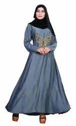 Women's Embroidery Work Nida Abaya Burka with Hijab Scarf