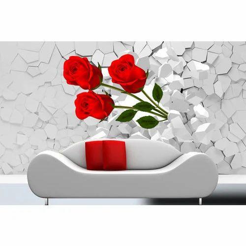 Customized Broken Wall With 3d Rose Effect Wallpaper