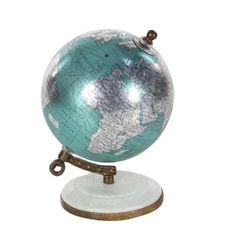 Designer Stand Accent Pieces Metallic Chrome World Globe