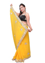 Bright Yellow  Zari Pearl Saree