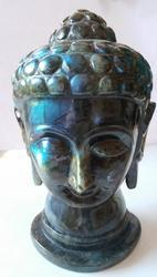 Gautam Buddha Carved Statue Head of natural Labrodarite 2257
